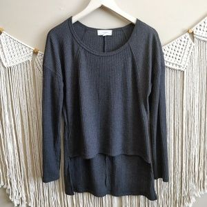 No Comment Charcoal Gray Ribbed Knit Sweater L